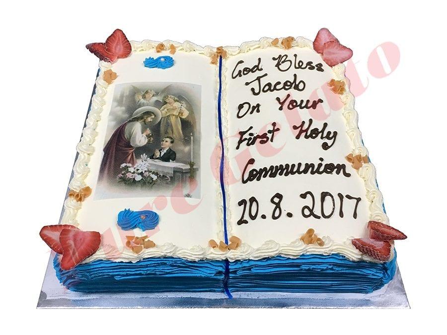 Open Bible Communion Cake Aqua Blue Pages+Angel Boy Image