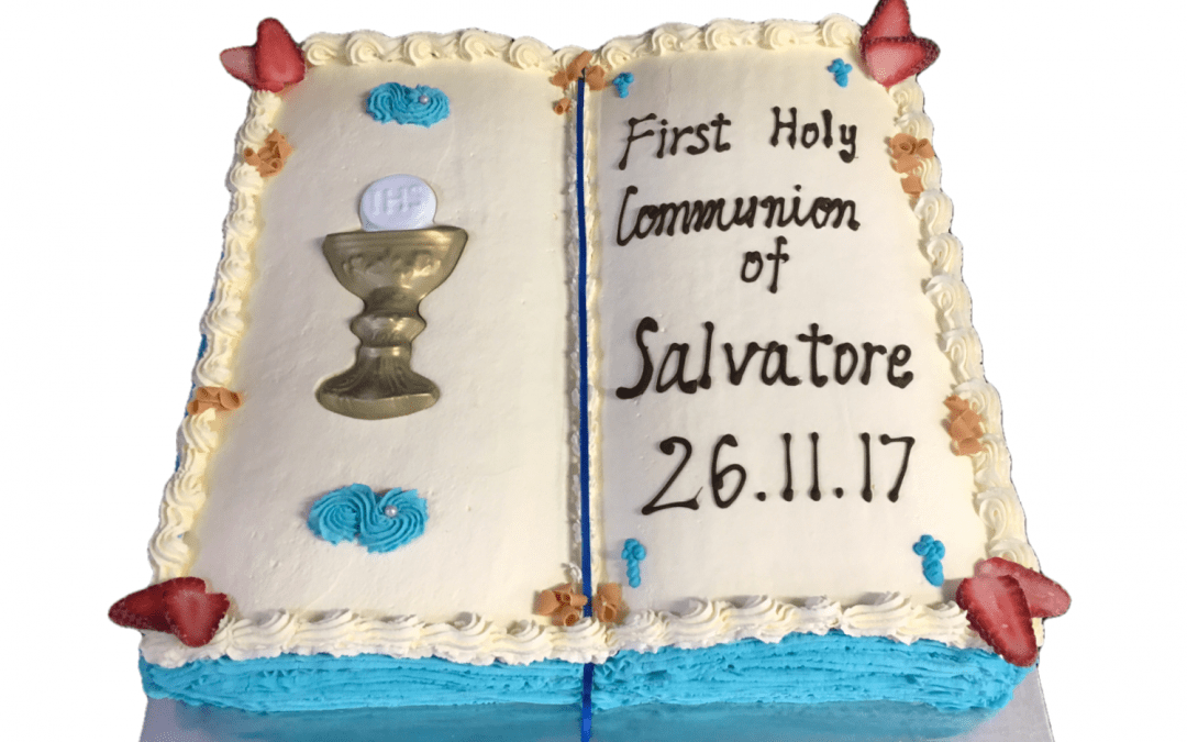 Open Bible Communion Cake Aqua Blue Pages+Chalice