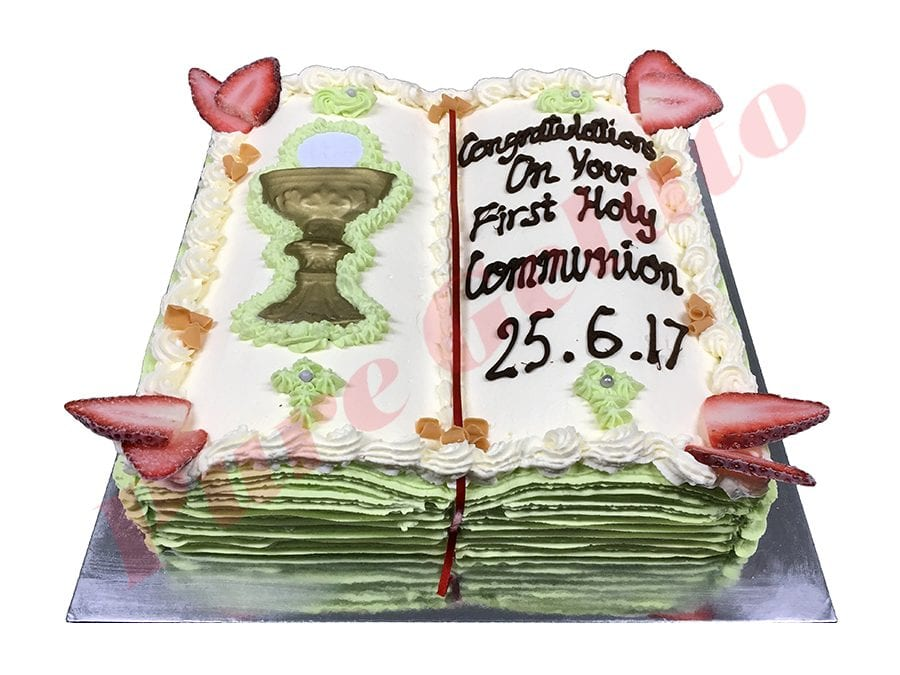 Open Bible Communion Cake Baby Green Pages+Chalice