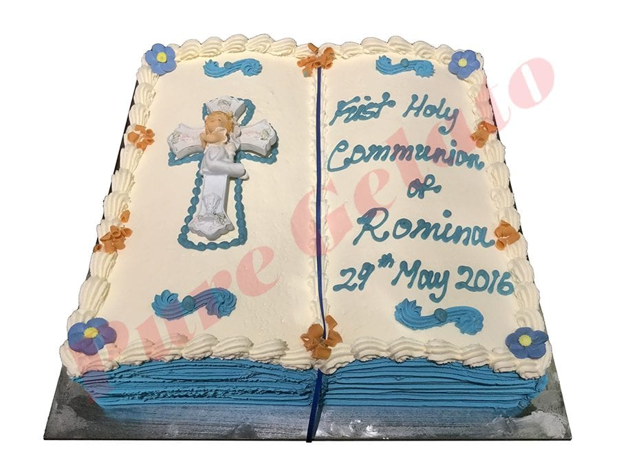 Open Bible Communion Cake Blue Pages+Ceramic Girl Cross