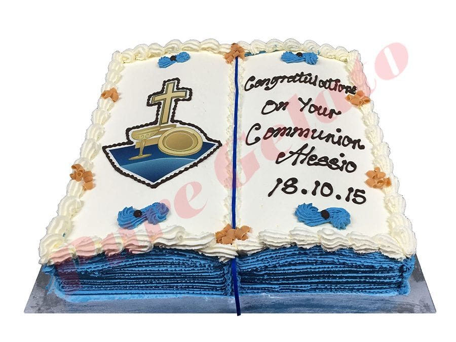 Open Bible Communion Cake Blue Pages+Cross Chalice Image