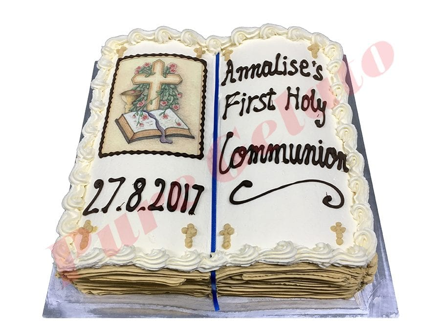 Open Bible Communion Cake Gold Pages Cross+Bible Image