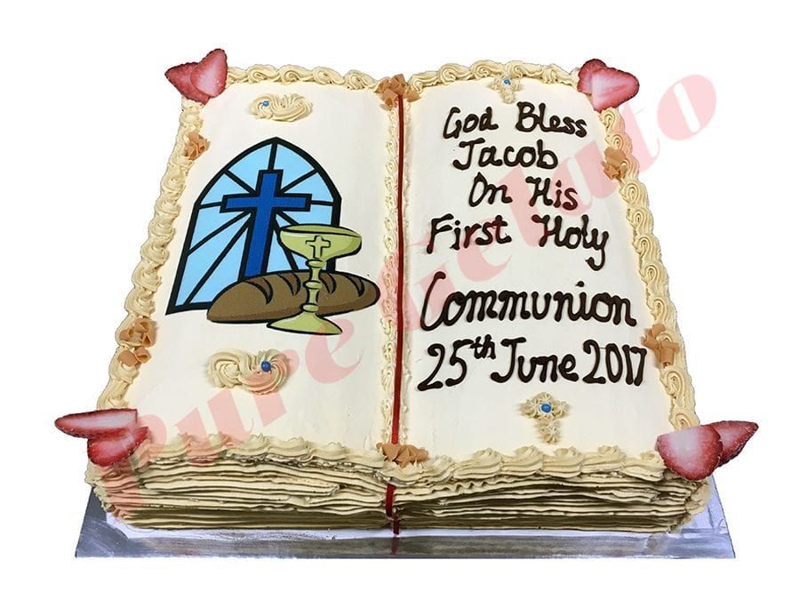 Open Bible Communion Cake Gold Pages Cross+Bread Image