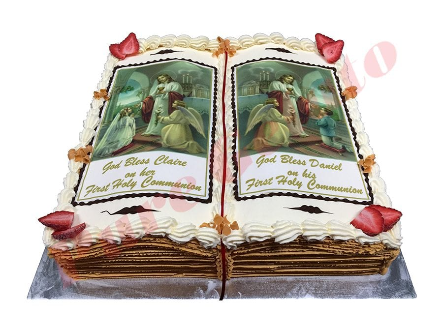 Open Bible Communion Cake Gold Pages With Two Image