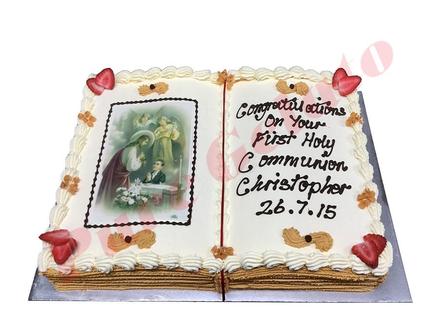 Open Bible Communion Cake Gold Pages+Angel Boy Image