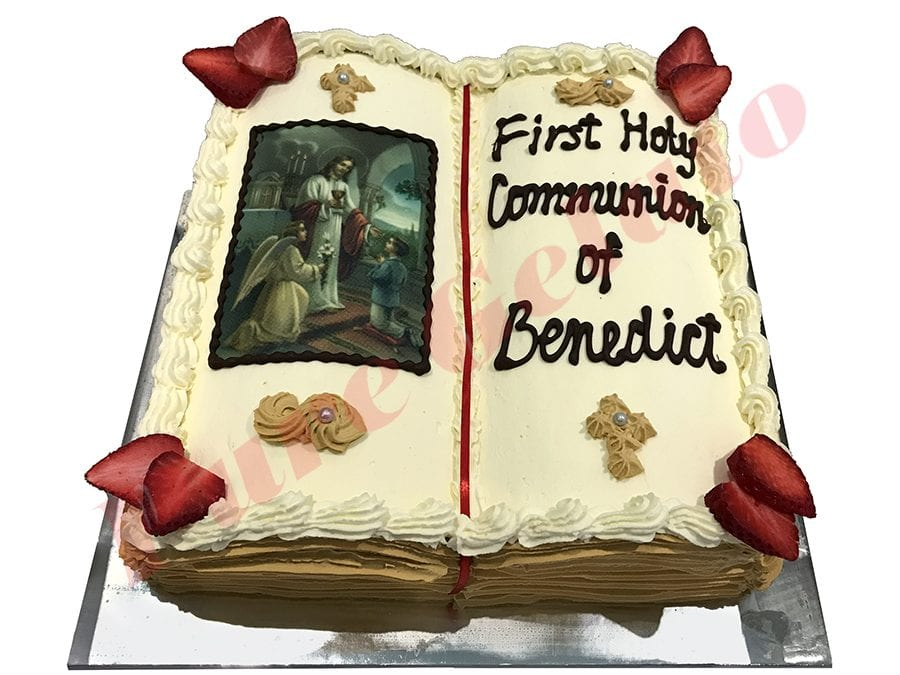 Open Bible Communion Cake Gold Pages+Boy Image