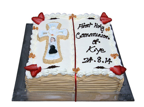 Open Bible Communion Cake Gold Pages+Ceramic Boys Cross