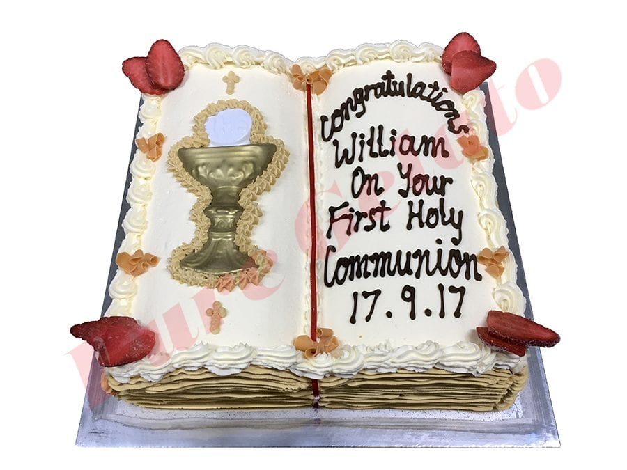 Open Bible Communion Cake Gold Pages+Chalice