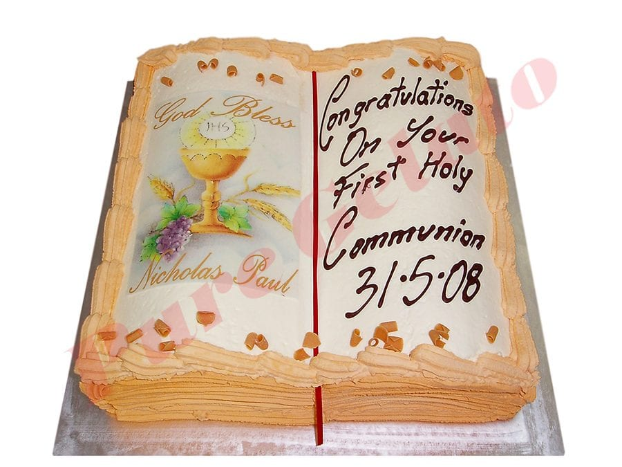 Open Bible Communion Cake Gold Pages+Chalice Image