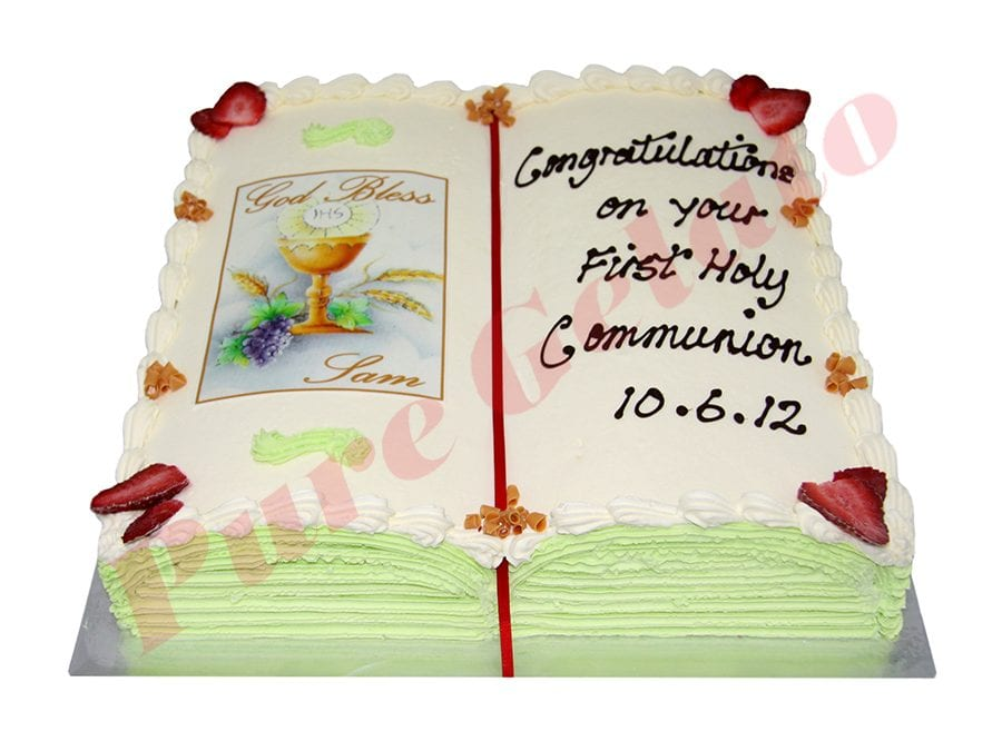 Open Bible Communion Cake Green Pages+Chalice Image