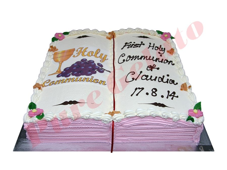 Open Bible Communion Cake Pink Pages Chalice+Grapes Image