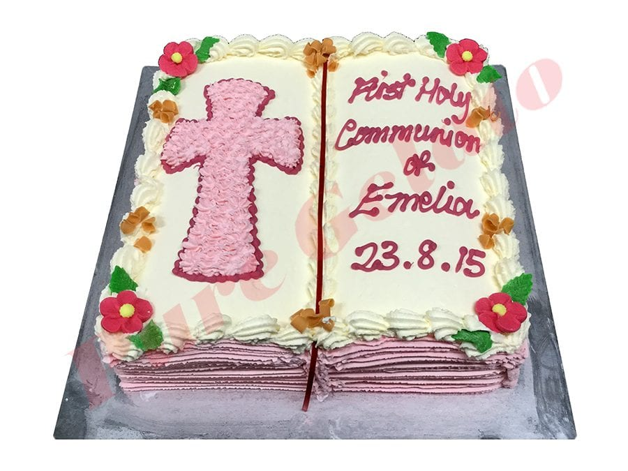 Open Bible Communion Cake Pink Pages Pink Cream piped Cross