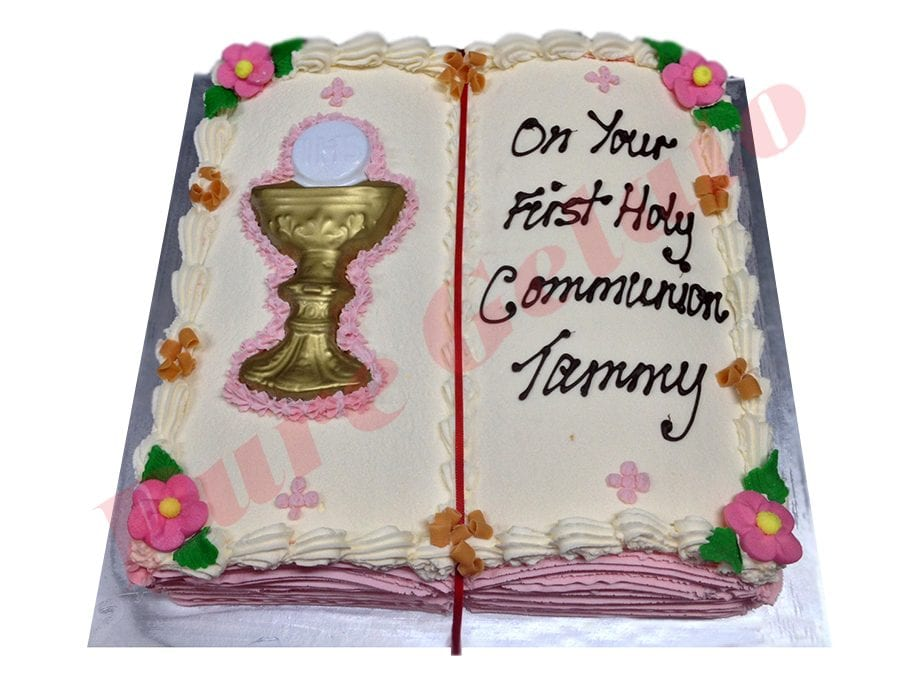 Open Bible Communion Cake Pink Pages+Chalice