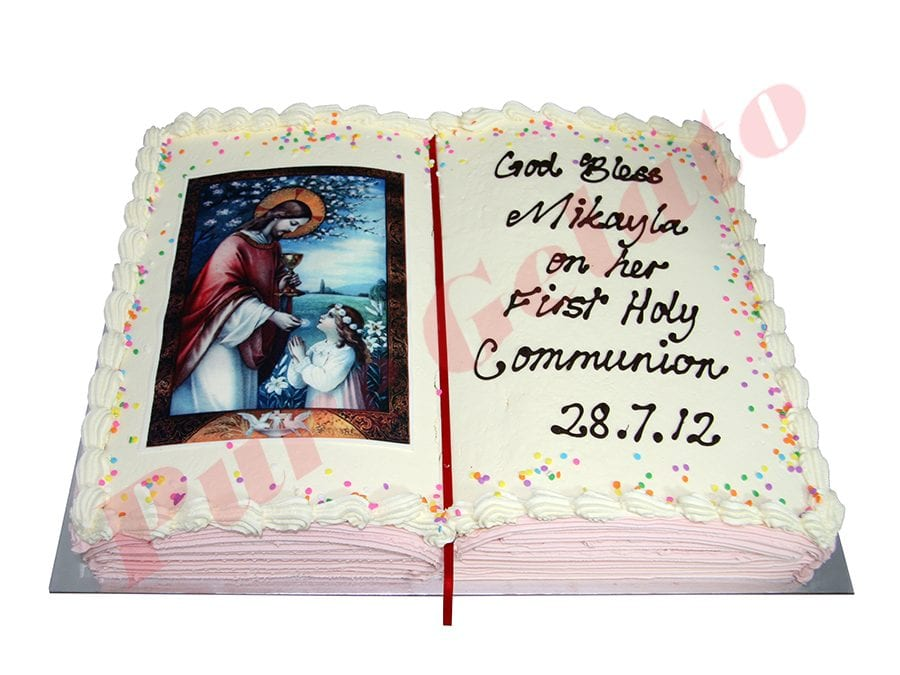 Open Bible Communion Cake Pink Pages+Girl Image Sprinkles