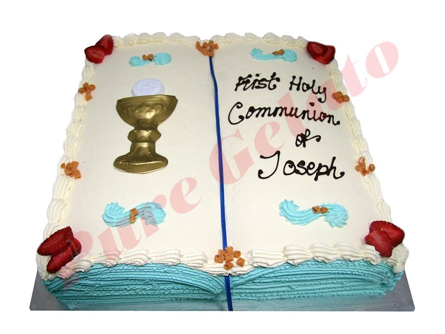 Open Bible Communion Cake Teal Pages+Chalice