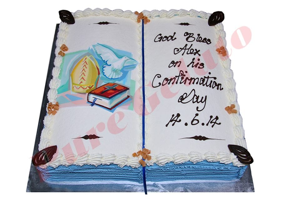Open Bible Confirmation Cake Blue Pages Bishop Hat Image
