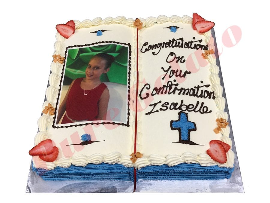 Open Bible Confirmation Cake Blue Pages+Cross Photo Image