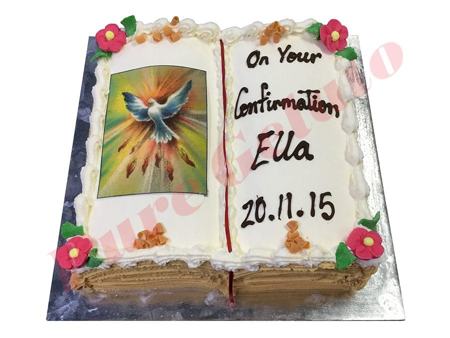 Open Bible Confirmation Cake Gold Pages Flying Dove Image