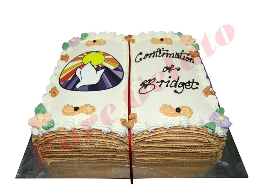 Open Bible Confirmation Cake Gold Pages Purple Dove Image