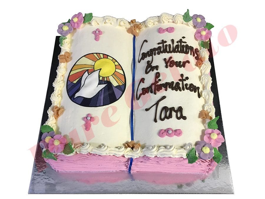Open Bible Confirmation Cake Pink Pages Purple Dove Image