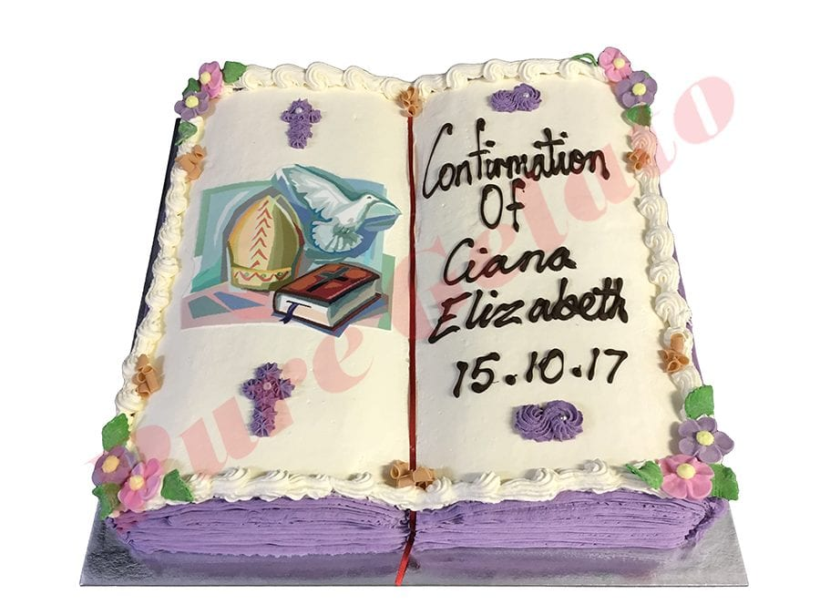 Open Bible Confirmation Cake Purple Pages Bishop Hat Image