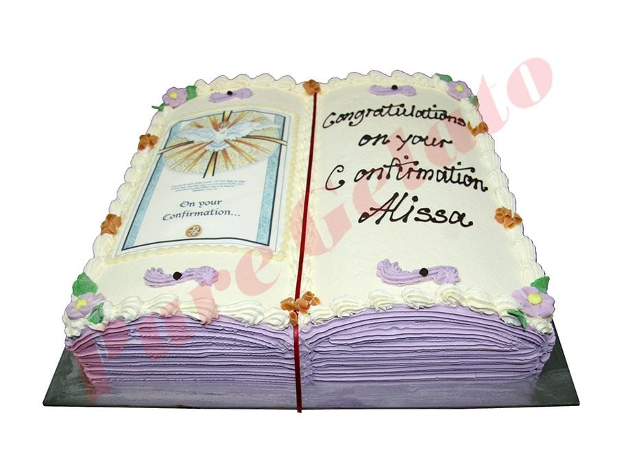 Open Bible Confirmation Cake Purple Pages Gold Dove Image