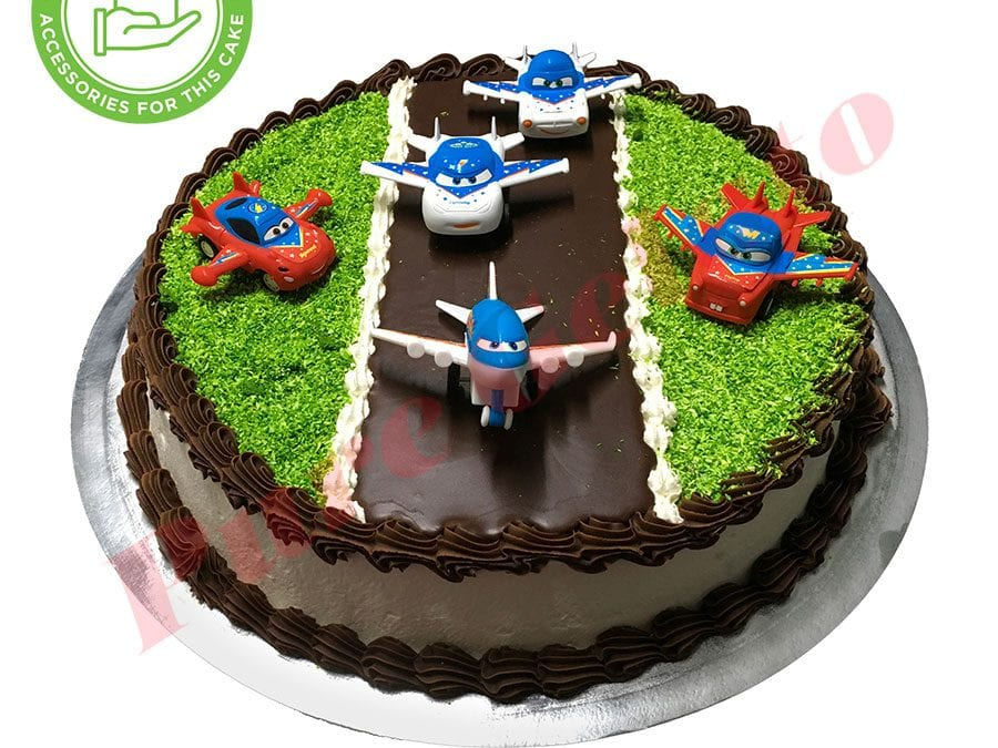 Planes Cake Round Smooth Cream Chocolate Piping Customer Acc