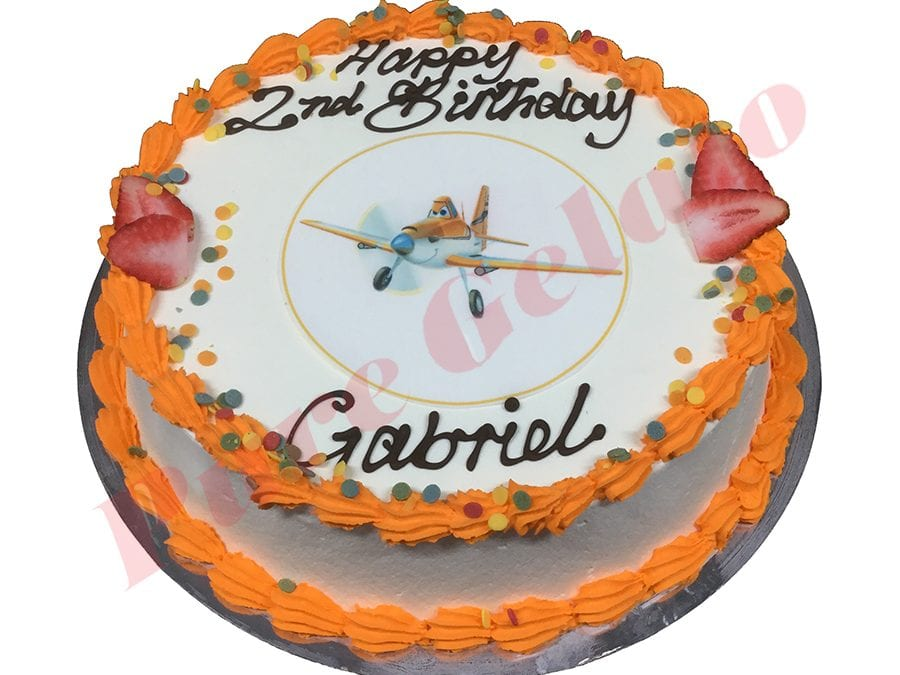 Planes Cake Smooth Cream Orange Piping+Planes Image