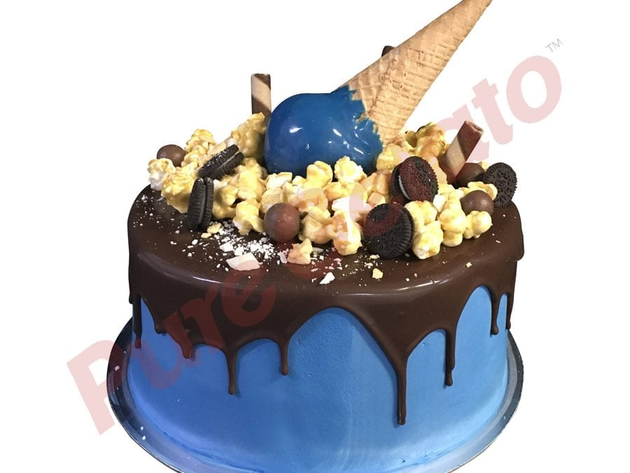 Upside down  Cone Cake Double Stack Choc Drip Blue Cream+Cluster