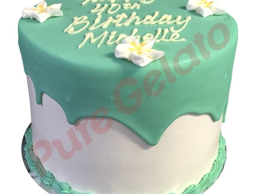 Triple Stack Cake Teal Choc Drip+Frangipanis