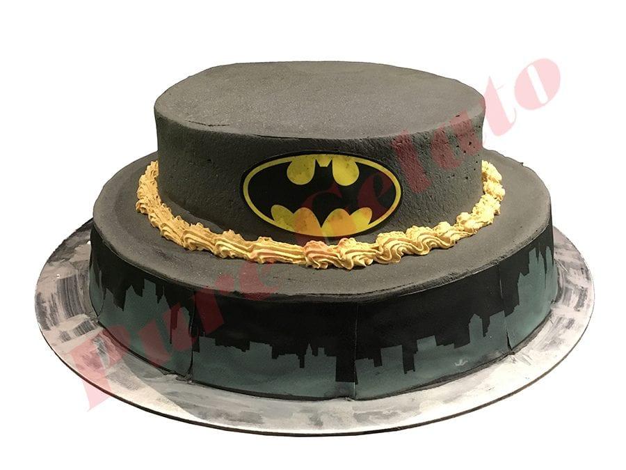 Smooth Black Cream 2 Tier Batman Themed Scans
