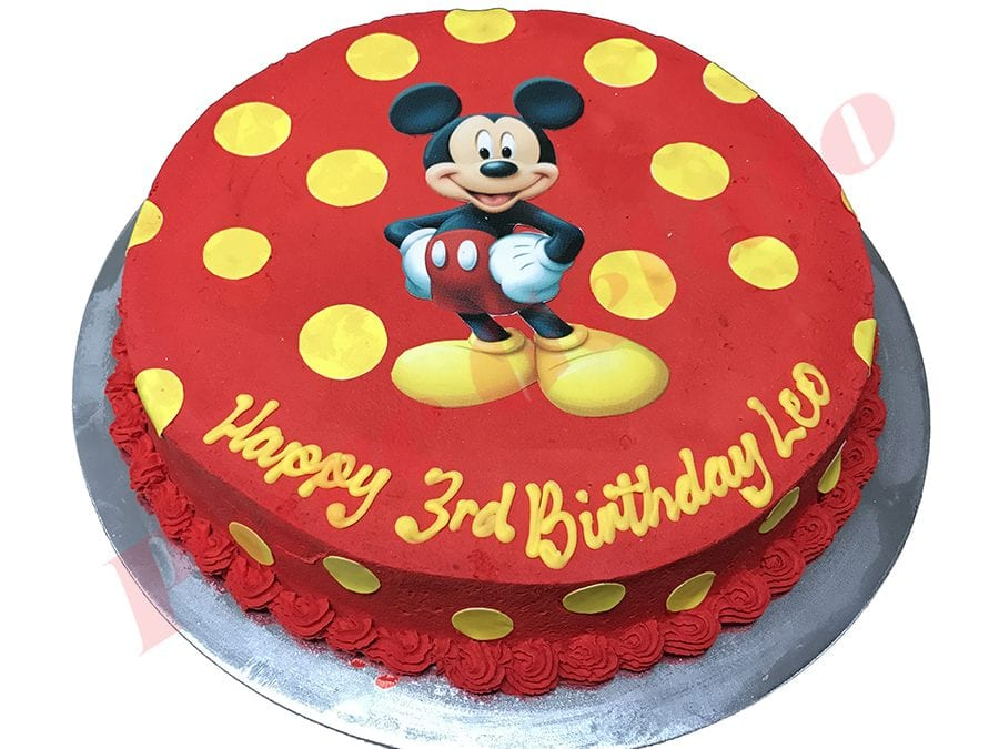 Smooth Red Cream Mickey Mouse Scan+Yellow Dots