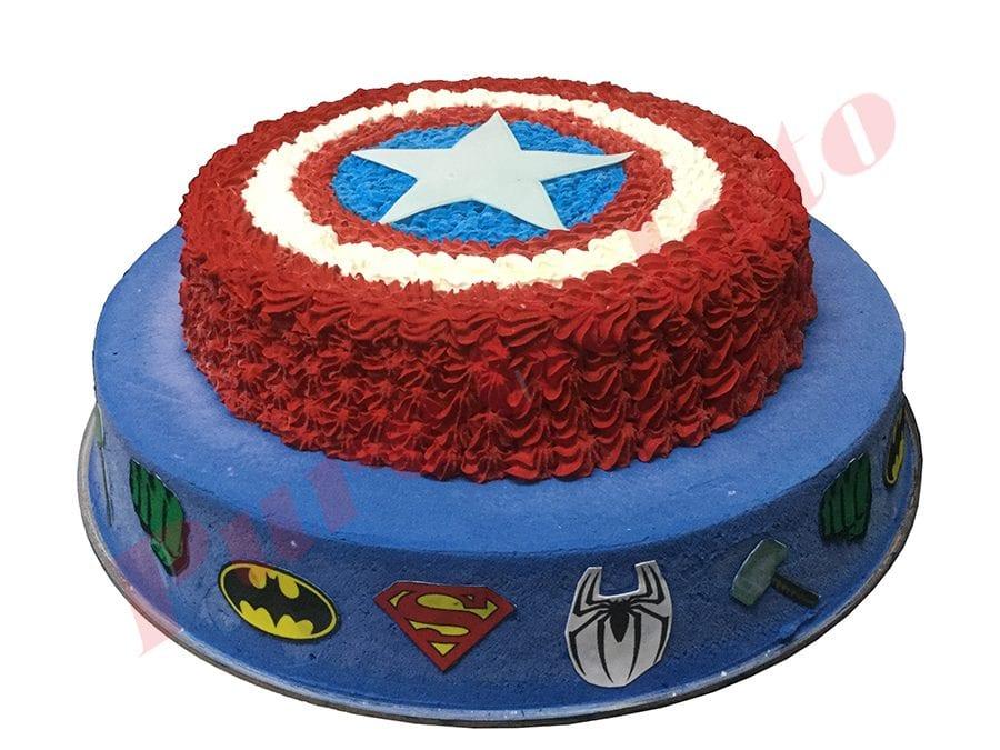 Smooth Red+Blue Cream 2 Tier Captain America Shield Superhero Scans
