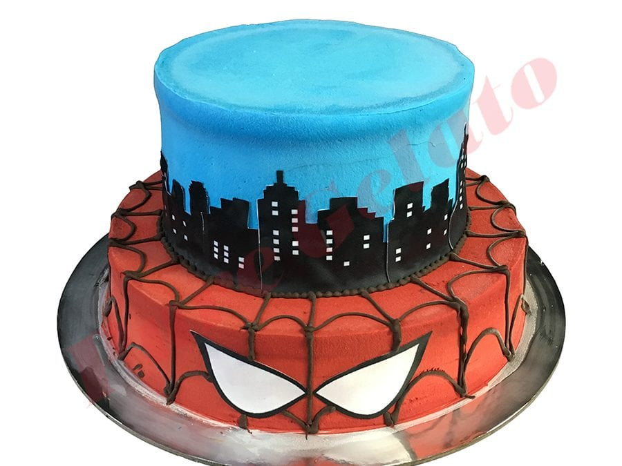 Smooth Red+Blue Cream 2 Tier Stack Spiderman Themed Scan