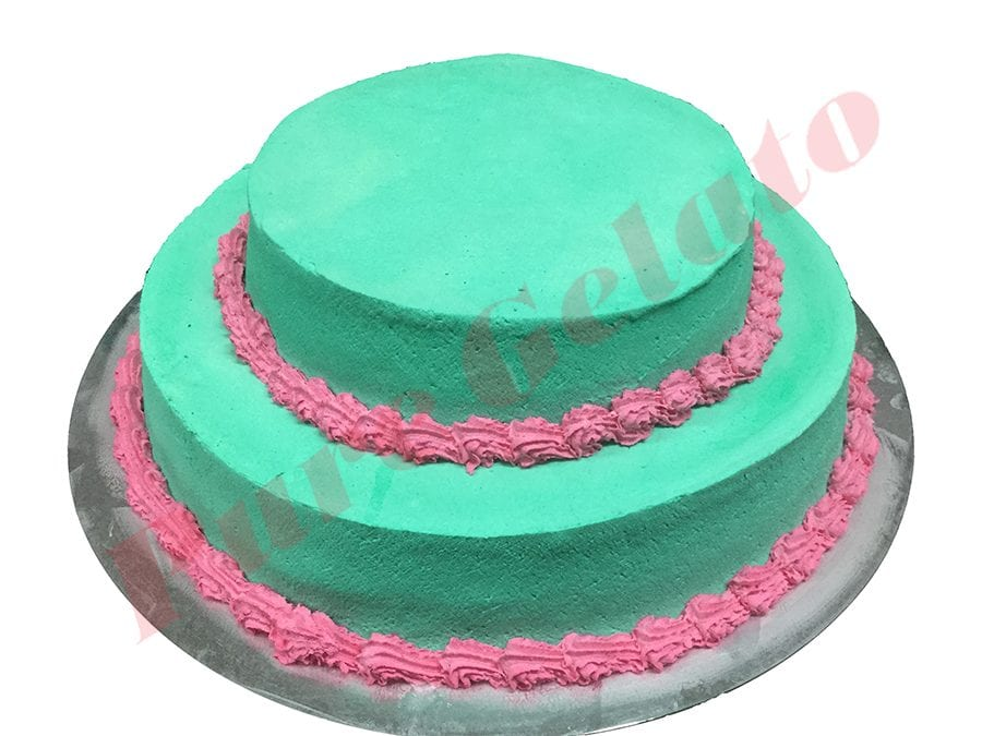 Smooth Teal Cream 2 Tier Pink Piping