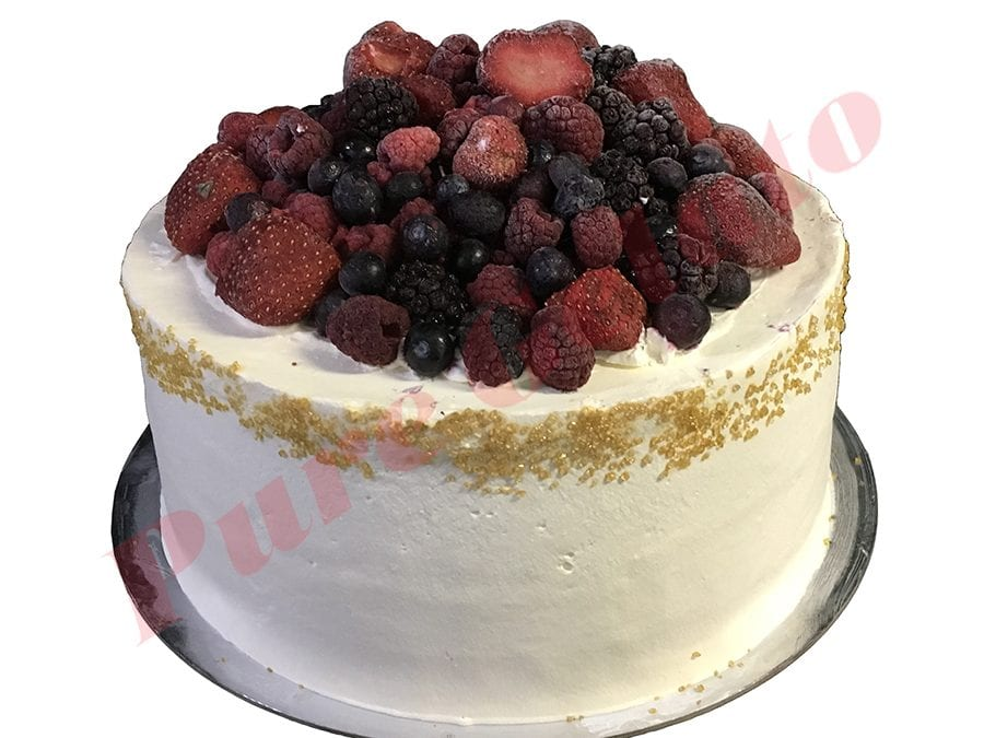 Smooth White Cream Double Stack+Berries Gold Sprinkles