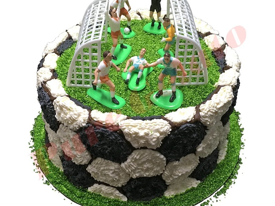 Sports Field Cake Double Stack Soccer Ball+Players