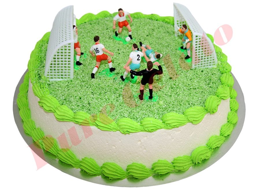 Sports Field Cake Full Round Soccer Field Smooth Cream Green pipping