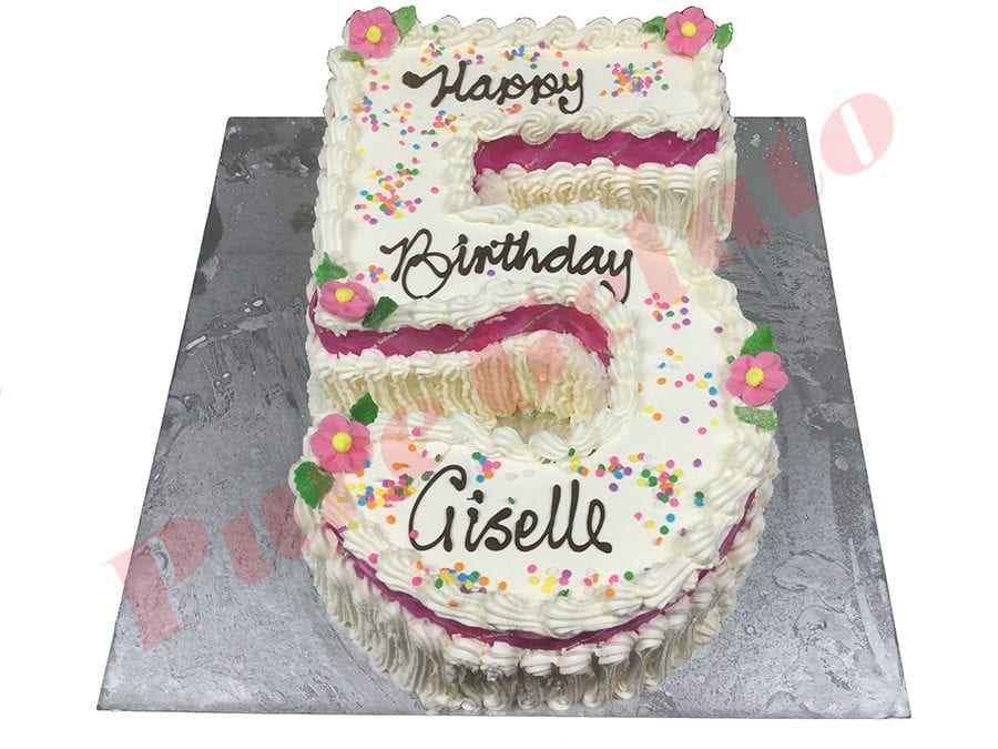 Traditional Numeral with Pink Ribbon+Sprinkles(1)