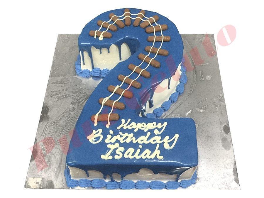 Train Cake Numeral 2 Blue Choc Drip+Piping+Train Track