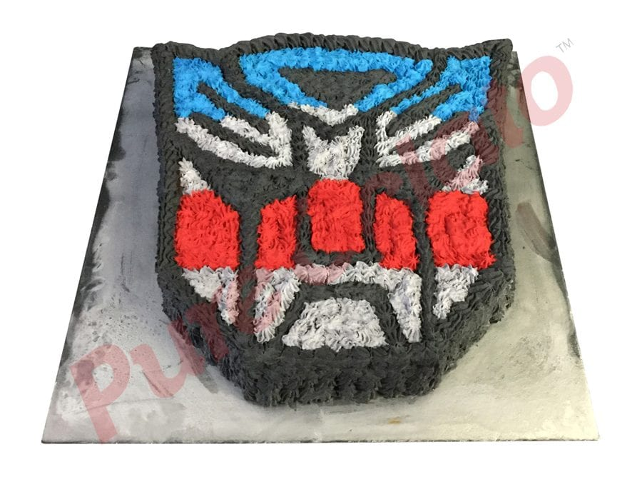 Transformer Logo Blue Red Grey Black Piped All Over