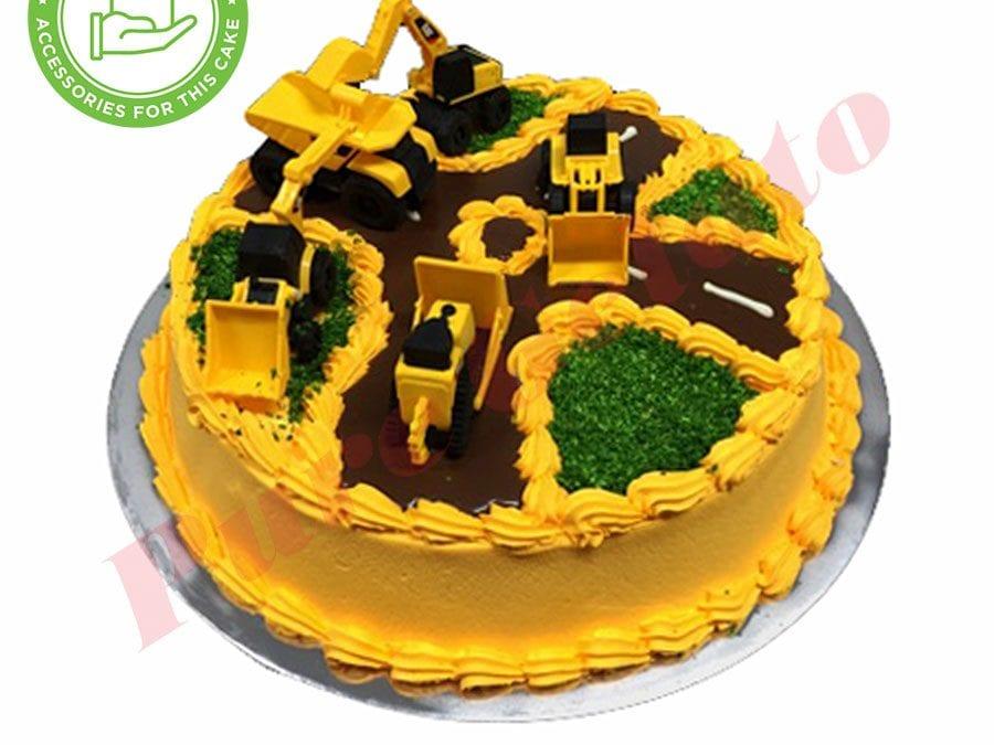 Truck Cake Yellow Cream+piping+Customers Accessories