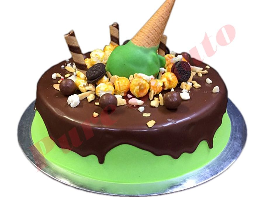 Upside down  Cone Cake Choc Drip Green Cream+Cluster