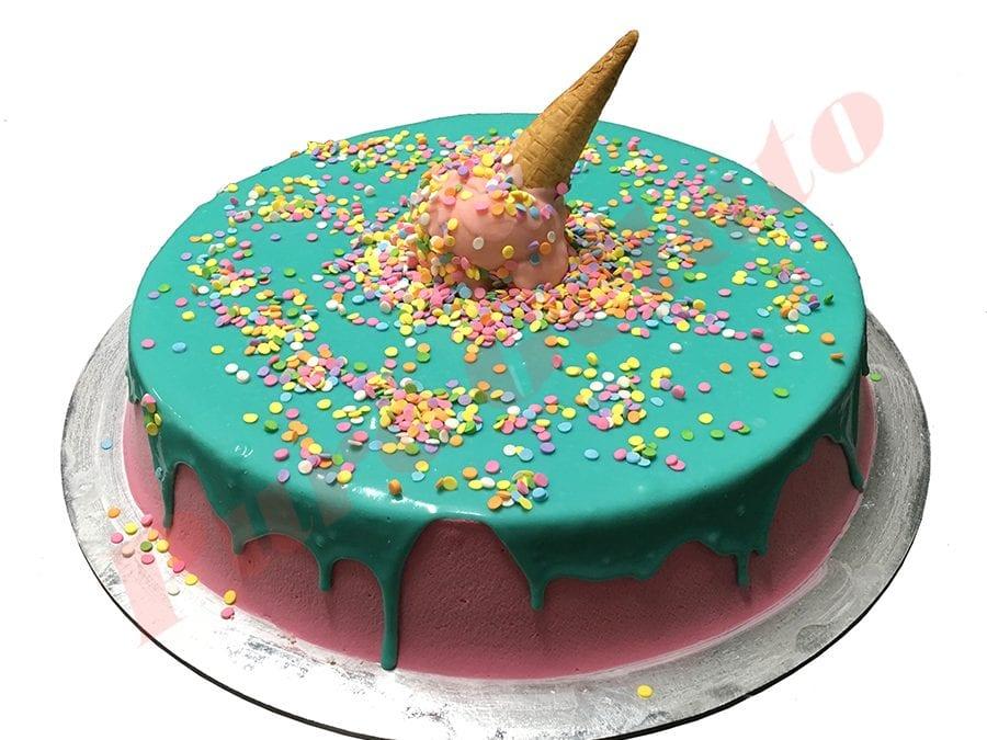 Upside down  Cone Cake Teal Choc Drip Pink Cream+Sprinkles