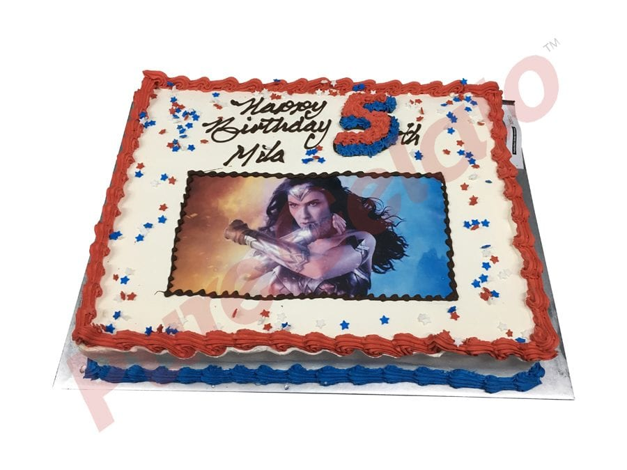 Wonder Woman Smooth Cream Red Blue Piping+Image