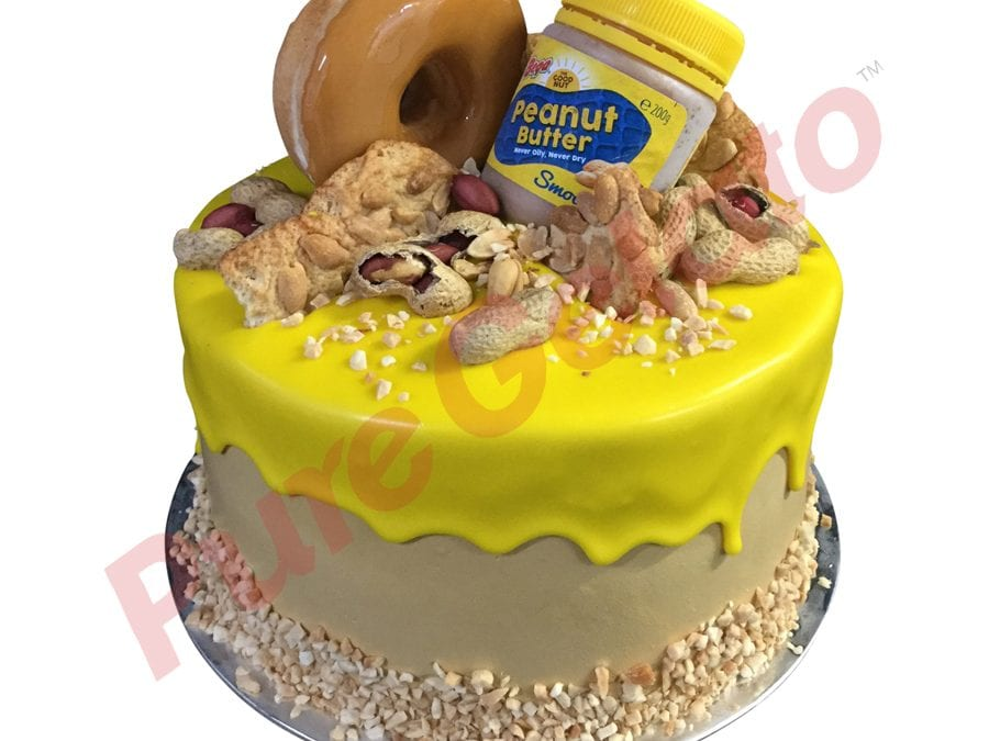 Yellow Choc Drip Double Stack Peanut Butter Themed