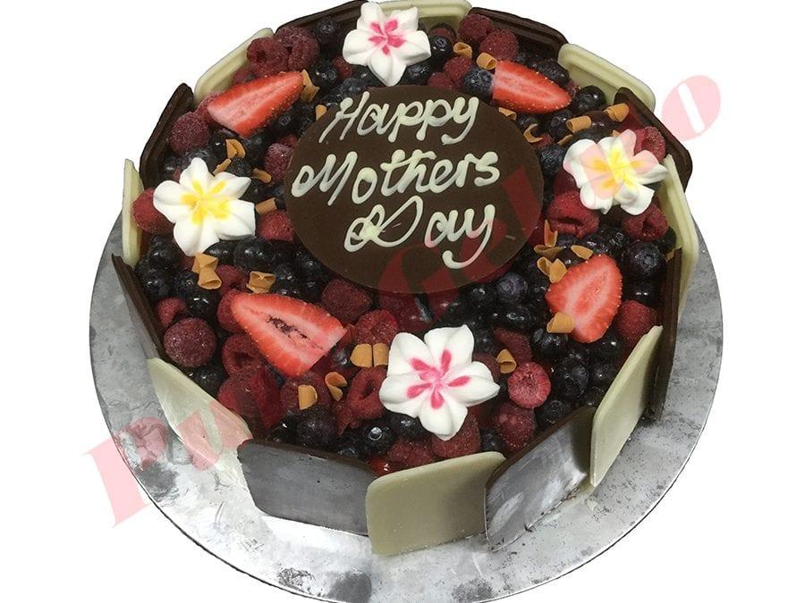 Choc Berry Cake Round+frangipani+Plaque