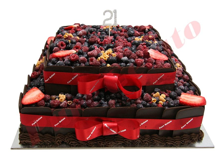 Choc Berry Cake Square 2 Tier all Choc sides Red Ribbon