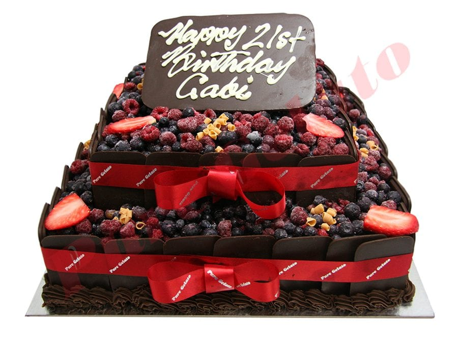 Choc Berry Cake Square 2 Tier all Choc sides Red Ribbon+plaque