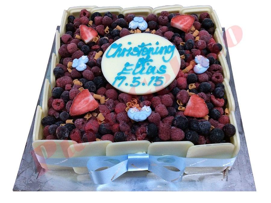 Choc Berry Cake Square all White Choc sides Blue Ribbon+white choc plaque